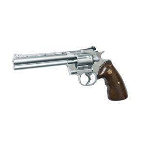 The fully licensed AIRSOFT GAS PISTOL 6MM Zastava R-357 chrome version is a semi-automatic revolver. The gas is stored internally in the grip