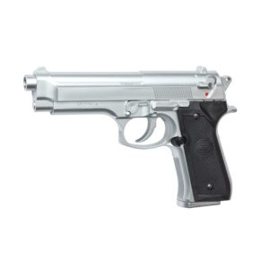 The AIRSOFT PISTOL M92 FS CHROME spring-operated high-performance version of the classic M92FS. The high power and fixed Hop-up makes the model very accurate.