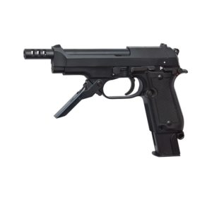 The AIRSOFT PISTOL GBB MS II HOP UP is a semi-auto and 3-shot burst firing pistol, the M93R II is based on the classic M9 models. Unlike the real steel version this Airsoft version also has a full-auto mode.