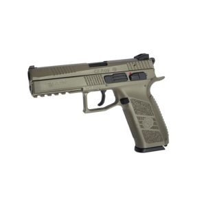 The CZ P-09 AIRSOFT PISTOL BLOW BACK TAN 6MM is a full-size tactical Airsoft pistol with an integrated rail for mounting light and/or laser. Manufactured under license from CZ, this airgun is designed from the original technical drawings, resulting in a realistic look and smooth handling. Its blowback function makes the metal slide move with every shot fired, creating strong recoil, adding to the shooting experience.