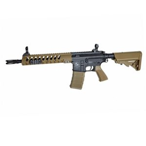 The tan coloured ASG AEG SLV ARMALITE M15 LIGHT TACTICAL CARBINE introduces a new series of great valued airsoft guns with authentic Armalite markings, and in a variety of configurations to provide the players with more options regarding looks and functionality.