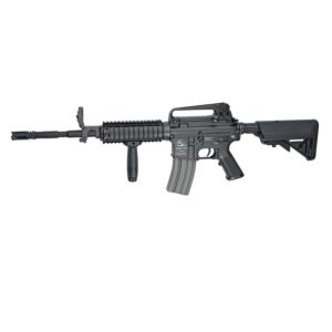 The ARMALITE M15A4 R.I.S. CARBINE is a great entry level Airsoft gun for shooters who wishes to increase their gaming experience by using tactical equipment like grips, lasers or lights.