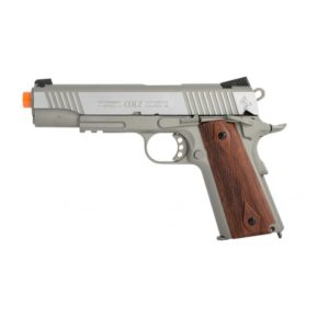 This is a 1:1 scale replica of the famous Colt M1911 .45 ACP. This COLT M1911 .45 ACP CO2 RAIL GUN BLOWBACK AIRSOFT PISTOL, STAINLESS is manufactured by KWC and bears fully licensed Colt trademarks for authenticity.