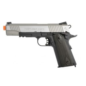 This is a 1:1 scale replica of the famous Colt M1911 .45 ACP. This COLT M1911 .45 ACP CO2 RAIL GUN BLOWBACK AIRSOFT PISTOL - TWO-TONE is manufactured by KWC and bears fully licensed Colt trademarks for authenticity.