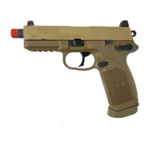 The FNX-45 TACTICAL METAL GAS BLOWBACK AIRSOFT PISTOL is an exact replica of the FNH FNX-45 tactical pistol. Features include a full metal slide and durable polymer frame. The outer barrel is threaded allowing the use of a barrel extension if desired. The magazine capacity is 25 BBs. This is a blowback pistol which means that the slide will shoot back with each shot fired, cycling the next round and adding some recoil for realism.