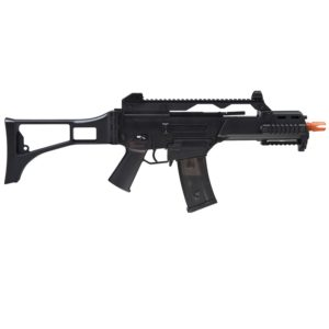 The Licensed H&K G36C COMPETITION SERIES AEG RIFLE is a superb game gun with beautiful H&K licensed marking for the serious collectors. Great accuracy, power and range right out of the box.