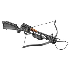 JAG 1 XBOW SPRING CAMO 175LB by EK ARCHERY, includes a simple adjustable peep sight, cocking rope, 2X2018-16″ Aluminium bolts, string wax & goggles.