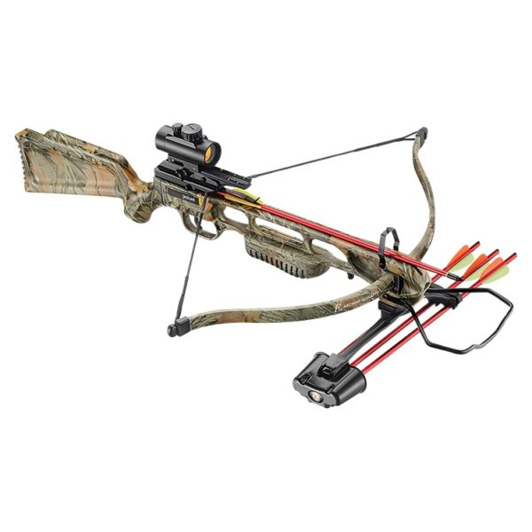 JAG 1 XBOW SPRING CAMO Deluxe 175LB by EK ARCHERY, includes a 3-dot red dot sight, cocking rope, shoulder sling, 3-bolt quiver/bk,3x2 219-16″ aluminium bolts, string wax & goggles.