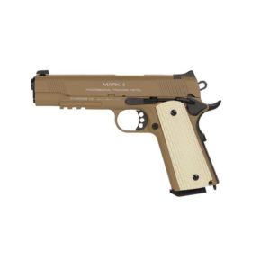 The KWA M1911 MK II PTP (GBB/6MM) DARK EARTH 101 series was developed from the successful M1911 series, giving the older M1911 a modern update.