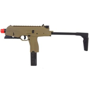The KMP9R NS2DARK EARTH (GBB/6MM) series is based on a small lightweight 9mm submachine gun and features an integrated folding stock and a moulded fore grip to provide a stable shooting platform for the user.