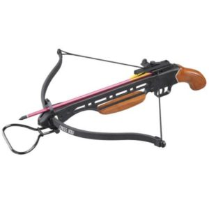 The Man Kung MK-150A1H 150 lbs Pistol Crossbow with wooden stock. This recurve crossbow has the same functions and power as a recurve crossbow with a rifle stock, but is much more compact.