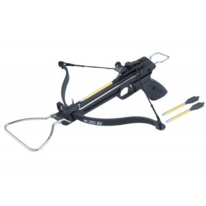 The Man Kung 80lbs aluminium crossbow MK80A3; is a powerful compact pistol recurve crossbow with a draw weight of 80 lbs and with an aluminium stock. The crossbow has a metal arrow rail and a trigger mechanism with automatic lock.