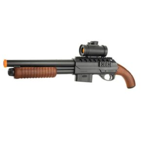 The MOSSBERG M500 SHORT SPRING SHOTGUN W/SPARE MAGAZINE , FLASHLIGHT AND MOCK SCOPE BLACK is a big step in the world of Airsoft. Are you ready to take on the big boys?