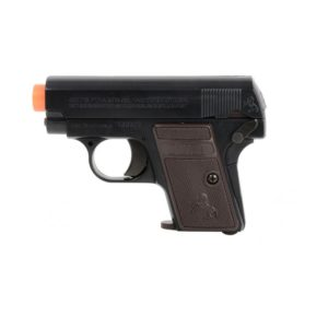 The Colt 25 Black Airsoft Pistol is a spring-powered gun that packs a punch in the field. This gun is a 1:1 replica of its real firearm counterpart and is a great sidearm choice in the field.