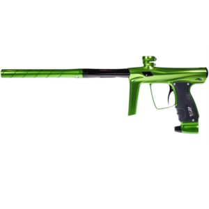 The SHOCKER Slime Green Marker by GoG challenges the conventional thinking of paintball marker body design.