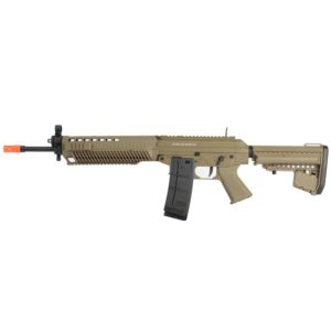Cybergun's officially licensed SIG SAUER 556 rifle is a high-quality long rifle that shines in outdoors airsoft field play. Inspired by the real-steel Swiss-made .556 Sig Sauer rifle, this AEG is a 1:1 scale replica with attention to detail.