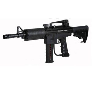 "The Spyder MR6 Paintball Marker features the ""DLS"" Dual Loading System capable of shooting .68 Caliber Paintballs through a standard top loading hopper and lower mag-feed system."