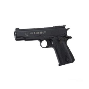 STI® International has taken the traditional 1911 and made a modern make-over of this classic pistol - STI® Lawman 6mm. The licensed STI® Lawman is a semi-automatic gas-powered pistol with fixed Hop-up and the stick magazine takes 14 BB's.