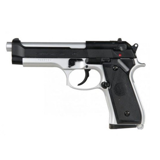 UHC UA958BSH SPRING PISTOL BLACK & SILVER 6MM FPS: 260fps w/ 0.12g Rate of Fire: N/A Action: Spring-action Hop-up: Fixed