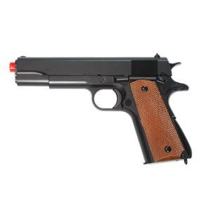 The UA961BH Spring pistol features a 1911A1 design and is black in colour.