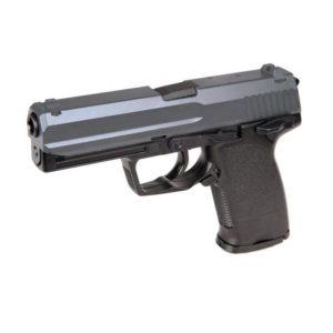 The UHC UG161B GAS PISTOL BLACK 6MM features a USP design and is black in colour.