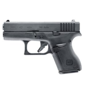 The Airsoft Gun 2.6410 GLOCK 42 cal. 6 mm BB is a pocket-sized pistol: This is a replica of the smallest model made by GLOCK.