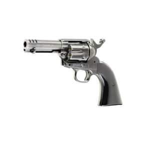 """This Colt SAA .45 version of the famed Colt Peacemaker is perfect for specialists and quick-draw experts alla Wyatt Earp. It has a short 3.5-inch barrel and comes without a sight, which would only get in the way at short distances. The specially shaped hammer can even be """"fanned"""" with your second hand. In terms of mechanism and function it is otherwise the same as the other Colt SAA revolvers, with a CO2 cylinder concealed in the grip and six nickel-plated loading shells, each of which takes a 4.5 mm steel BB."""