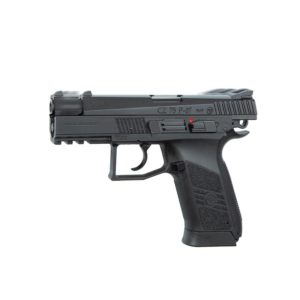 The CZ 75 P-07 DUTY 4.5MM (GBB) by ASG is the new generation of the CZ 75 family which was first designed back in 1975 by the famous small arms manufacturer Česká Zbrojovka, in the Czech Republic. This is the semi automatic 4.5mm (.177) airgun version fully licensed by CZ. It is powered by a 12g CO2 cartridge stored in the grip using the easy-load system and the BB's are put in the drop-out magazine. The CZ 75 P-07 DUTY is a compact tactical upgraded version compared to the standard CZ 75. Besides being more compact in size the P-07 DUTY has an integrated front waiver rail for mounting light and laser. The grip and metal slide carries authentic CZ markings and every gun comes with unique serial number. Blowback is a term used when the slide cycles back and forth when firing the gun, giving a more realistic feeling and sense of recoil.