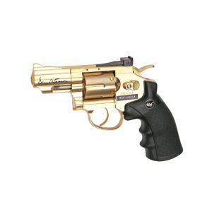 "The DAN WESSON 2,5 GOLD 4.5MM by ASG is a compact & stylish 2.5"" airgun. Licensed by Dan Wesson, it offers a realistic shooting experience in a handy size. It has authentic insignia and an individual serial number stamped into the frame. The revolver features a double action trigger system and adjustable rear sight for extra realism and accuracy. The Dan Wesson revolver is made of metal except for the ergonomic grip constructed from hard ABS plastic. The 12g CO2 cartridge is stored in the grip and is easily accessed by sliding the grip back ensuring an easy-load style. Each of the 6 cartridges holds one 4.5mm BB and is placed in the metal cylinder that rotates as each round is fired. The revolver comes with speed-loader, attachable tactical rail and 6 cartridges."