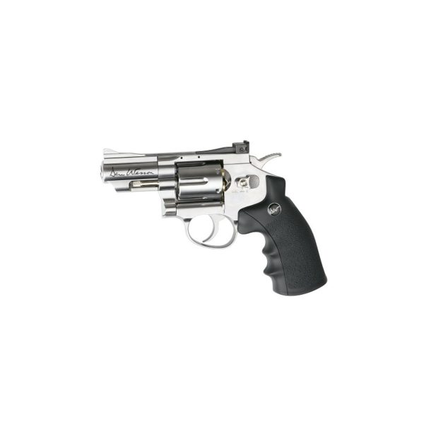 "The DAN WESSON 2,5 SILVER 4.5MM by ASG is a compact & stylish 2.5"" Chrome revolver. Licensed by Dan Wesson, it offers a realistic shooting experience in a handy size. It has authentic insignia and a individual serial number stamped into the frame. The revolver features a double action trigger system and adjustable rear sight for extra realism and accuracy. The Dan Wesson revolver is made of metal except for the ergonomic grip constructed from hard ABS plastic. The 12g CO2 cartridge is stored in the grip and is easily accessed by sliding the grip back ensuring an easy-load style. Each of the 6 cartridges holds one 4.5mm BB and is placed in the metal cylinder that rotates as each round is fired. The revolver comes with speed-loader, attachable tactical rail and 6 cartridges."