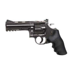 The DAN WESSON 715 4-INCH CO2 Pellet Revolver in steel grey by ASG, is made of metal except for the ergonomic grip constructed from hard ABS plastic. This CO2 Repeating Revolver, has realistic weight & power balance.