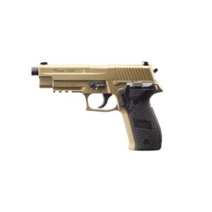 The P226 FDE .177 16RD AIR PISTOL from Sig Sauer is a chambered in .177 pellet or steel BB. This CO2 powered next-generation air pistol, has been engineered to closely match the most popular Sig Sauer original model in weight and handling as well as standards of performance.  Features include 16-round 8×2 rotary magazine, built-in picatinny rail mount, rifled steel barrel and white dot sights. Perfected for practice with every advantage built in, these airguns are the economic, authentic answer to training more often, more effectively. The P226 Air Pistol puts seriously comparable handling within reach for more frequent inexpensive training, indoors or out.