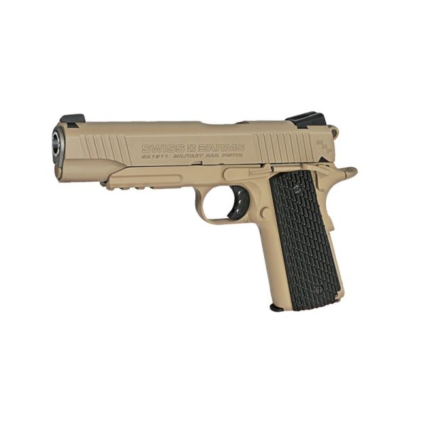 This Swiss Arms SA 1911 MRP gives fans of historic pistols exactly what they're looking for; a full-metal replica of one of the most iconic American handguns. This full metal pellet pistol has a realistic heft, blowback action, tactical rail for a laser or flashlight and thegrooved grip provides a non-slip grip. Add a flashlight or laser to the Picatinny accessory rail to practice your tactical shooting.