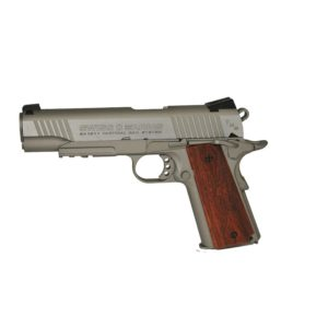 This Swiss Arms SA 1911 gives fans of historic pistols exactly what they're looking for a full-metal replica of one of the most iconic American handguns. With realistic heft, load up a 12-gram CO2 cartridge to send 18 BBs downrange at speeds up to 320 fps! Take hold of the checkered polymer grip to steady your aim as you look down the fixed sights. Add a flashlight or laser to the Picatinny accessory rail to practice your tactical shooting. The best feature? Realistic blowback that locks the slide back when you're out of ammo. Pick up another magazine to stay in the action.