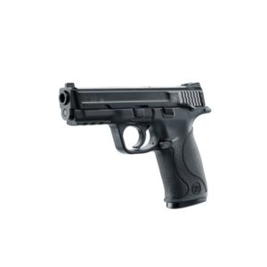 The US manufacturer Smith & Wesson brought out the M & P 40 in its Military & Police line. Umarex is now offering a licensed CO2 version of this .40 from Smith & Wesson. The magazine holds 19 BBs in .177/4.5 mm. With its black polymer frame and blue metal slide the pistol has a solid, heavy feel and delivers a realistic blowback effect.