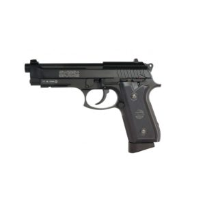 The Swiss Arms P92 CO2 semi-automatic air pistol by Palco; includes a 20 round bb magazine, fixed front & rear sights rounded off by textured grip panels. Even with the realistic blowback action, this gun features a rail to add your favourite accessory.