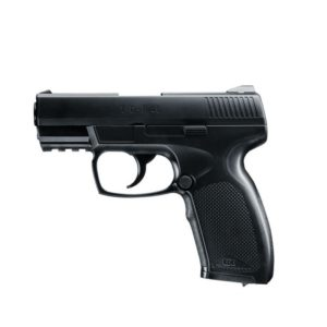 The Tactical Defense Pistol 45, (TDP45) from Umarex offers an entry-level model for CO2 fans, it convinces with its comfortable handling & appealing design. The 12g CO2 capsule can be exchanged with just a few hand movements. The removable magazine accommodates 19 steel round balls. The positively positioned fuse can be operated in the stop, while the double action only trigger allows fast firing. This TDP45 accommodate accessories, as the handle of the TDP45 is equipped with a picatinny rail.