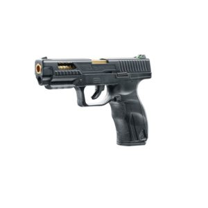 The UX SA9 Operator Edition from Umarex is an unusual CO2 pistol for 20 BBs, as it has no direct role model of an existing firearm. Its striking brass-colored barrel can be seen through the side viewports in the slide and at the ejection port. Despite its blowback-effect more than a 100 shots per CO2-cartridge are possible.