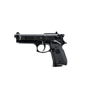 The Beretta M92 FS from Umarex is favoured by military, police and special units worldwide. This incredible realistic airgun version is a welcome addition for collectors and weapons enthusiasts. It is available in a range of models, from matte blued (standard), to satin nickel plated, to a luxury version with an additional wooden grip. This heavy CO2 pistol has the same excellent handling and precision as the original Beretta M92 FS and is available in both double action and single action mode.