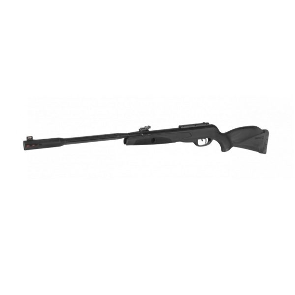 The Black Fusion 5.5mm airgun from GAMO is the most complete model with a synthetic butt within the GAMO POWER range. GAMO POWER airguns feature a 33 mm oversized chamber; this larger diameter together with a longer, more powerful spring produces a greater movement of air, which results in higher energy that can reach up to 29 Joules. The Black Fusion includes the latest GAMO technology, such as the new sound-moderator in its Whisper Fusion barrel, which combines two moderation technologies; Triple R (Recoil Reducing Rail) & SWA (Shock Wave Absorber).