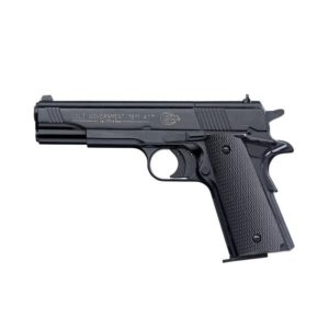 This replica Colt M1911 by Umarex offers the feel of the original weapon in combination with proven CO2 technology. It has an extremely easy-to-pull trigger, which in combination with the high precision of the weapon ensures first-class results each time.