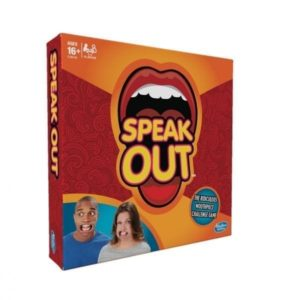 "The Speak Out game brings friends and family together for laugh-out-loud fun as players try to say different phrases while wearing a mouthpiece that won't let them shut their mouth. Save today with our special deal - R250.00. In the Speak Out game, players draw from the deck and read the phrase as best as they can, but it's not so easy to do when the mouthpiece is hindering them from forming words correctly. The timer counts down as players try to say phrases such as ""he's my stealthy pet ferret name Garrett"", ""slow down, you careless clown"", or ""pelicans love pollywog falafels."" The laughter continues as players try to decipher what in the world their teammate is trying to say, and must correctly guess the phrase in order to earn the card. The team with the most cards at the end of the game wins. The Speak Out game includes 200 double-sided cards, mouthpieces, and a timer."